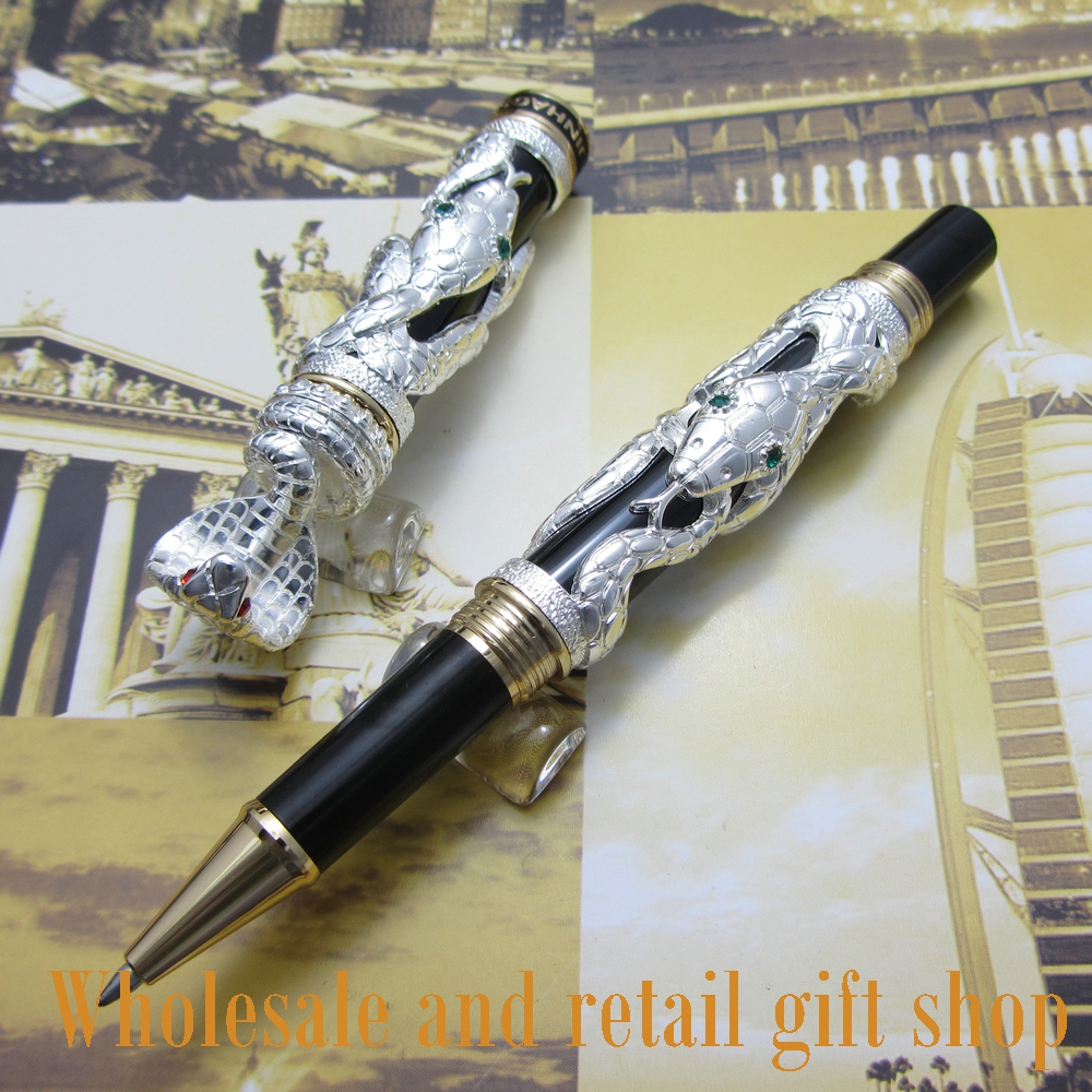 Jinhao J02 Snake Type Roller Ball Pen with Gift Box White 3d-model Cobra Metal Gift Pen wholesale sales promotion ballpoint pen jinhao 1683 gold roller ball pen steel metal dragon gift silver send a refill yy12