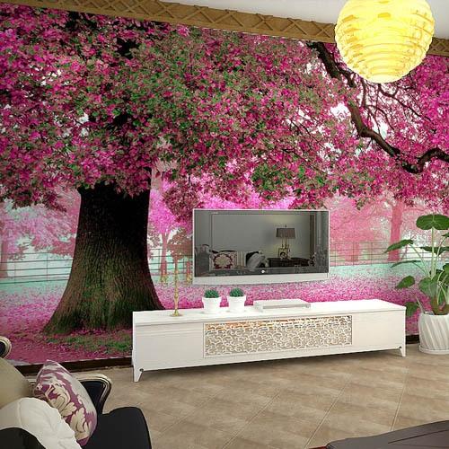 Wall Murals Cherry Blossom Wallpaper Photo Waterproof For Living Room Papel De Parede Para Quarto