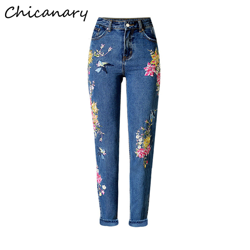 Chicanary Birds Floral Mom Embroidered Jeans High Rise Women Vintage Straight Denim Pants