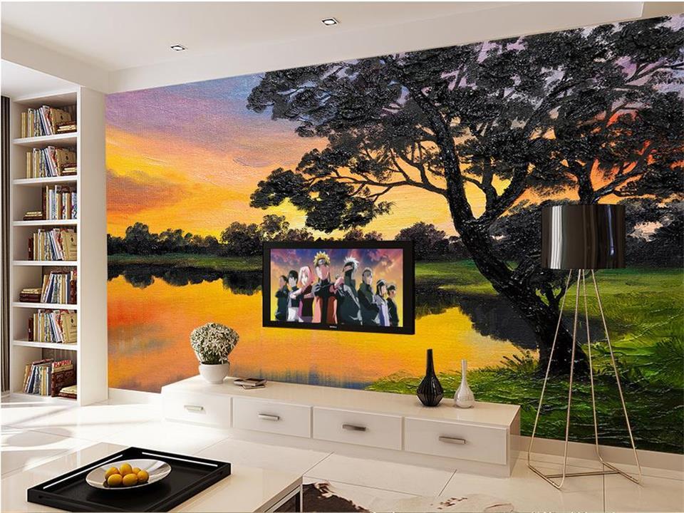 sunset mural background tree livingroom sofa landscape non oil painting 3d custom tv