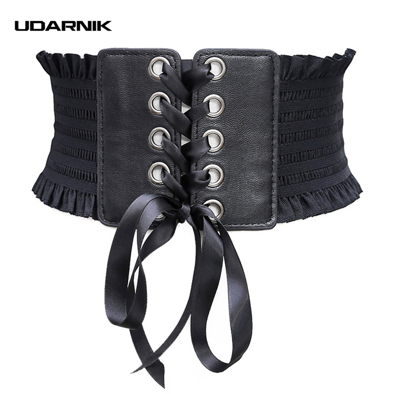 Women Cummerbunds Punk Wide Ruffle Corset 63cm Lace Up Elastic Waistband 3 Colors Leather Dress Belt Goth 200-A030