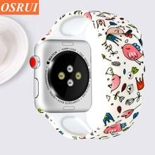 Strap for Apple watch 4 band 44mm 40mm iwatch 3 2 1 band correa 42mm 38mm bracelet Pattern Silicone wrist belt watch Accessories все цены