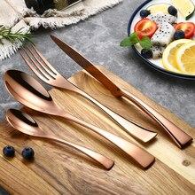 24Pcs/set Stainless Steel Rose Gold Cutlery Set Dinnerware Flatware Tableware Silverware Set Dinner Knife Fork Set Drop Shipping