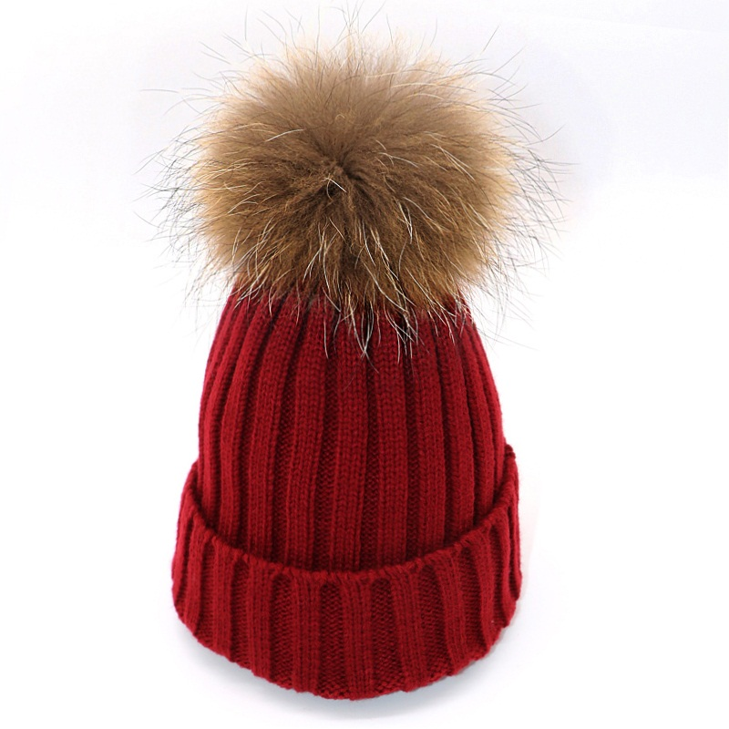 Fashion Women   Skullies     Beanies   Winter Hats for Girl's Knitting Cap Hat Fur Pompoms Ball Warm Casual Cap Gorros Thick Female new