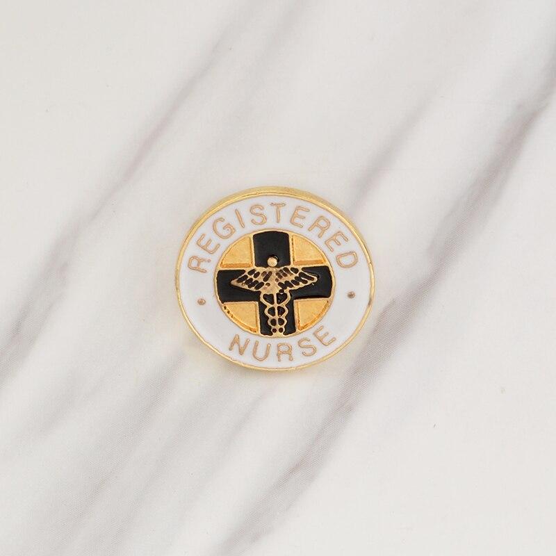 Register NURSE Black And White Cross Metallic Angel Wing Metal Brooch Fashion Simple Dress Backpack Enamel Badge Jewelry Gift
