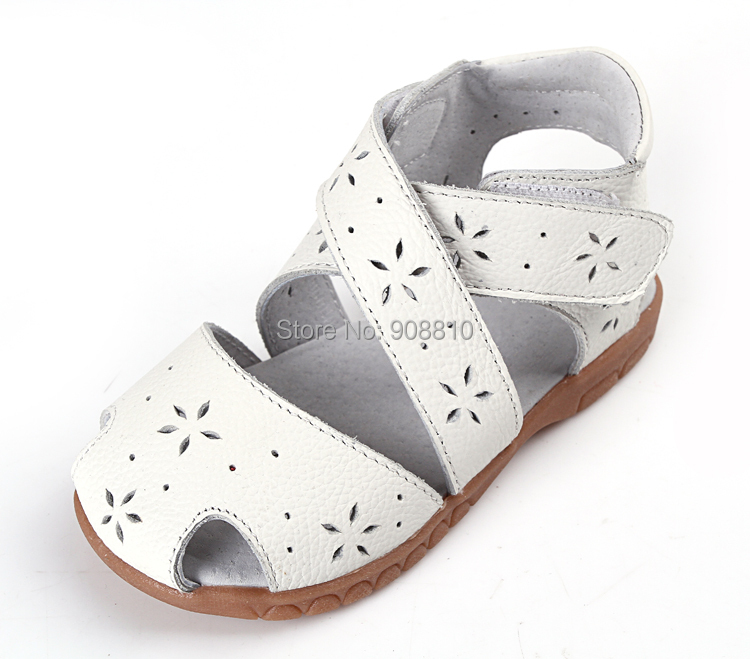 2019 New Girls Sandals Genuine Leather Soft Toddler Shoes White Pink Blue Closed Toe Summer  Style Flower Cutouts SandQ Baby