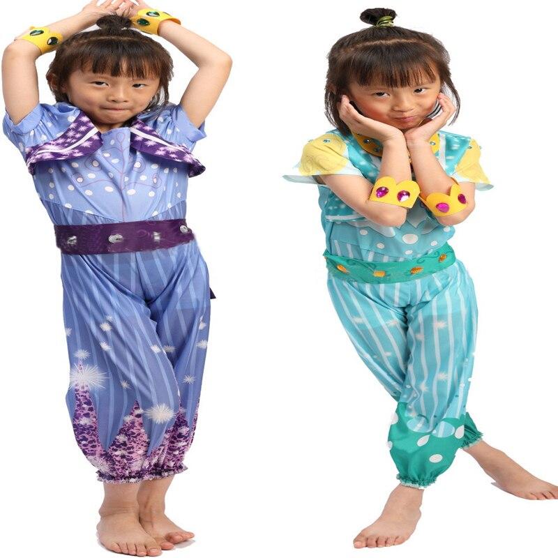 Girl's Shimmer Shine Cosplay Costume Dress Up Set Pre School Costume Children's Halloween Carnival Costume Birthday Gift