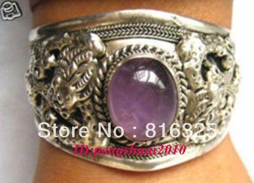 FREE SHIPPINGExquisite Carve Dragon Tribal Unisex Tibet Silver Bangle Cuff Bracelet (A0426)
