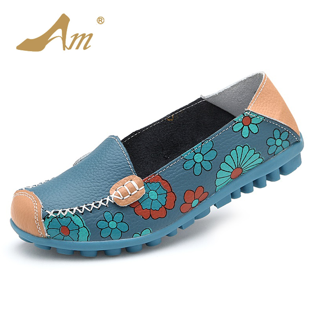 AME Women Casual Shoes Female Genuine Leather Printing Loafers Shoes Plus Size 41 42 43 44 Fashion Slip On Shallow Flats Shoes цена и фото