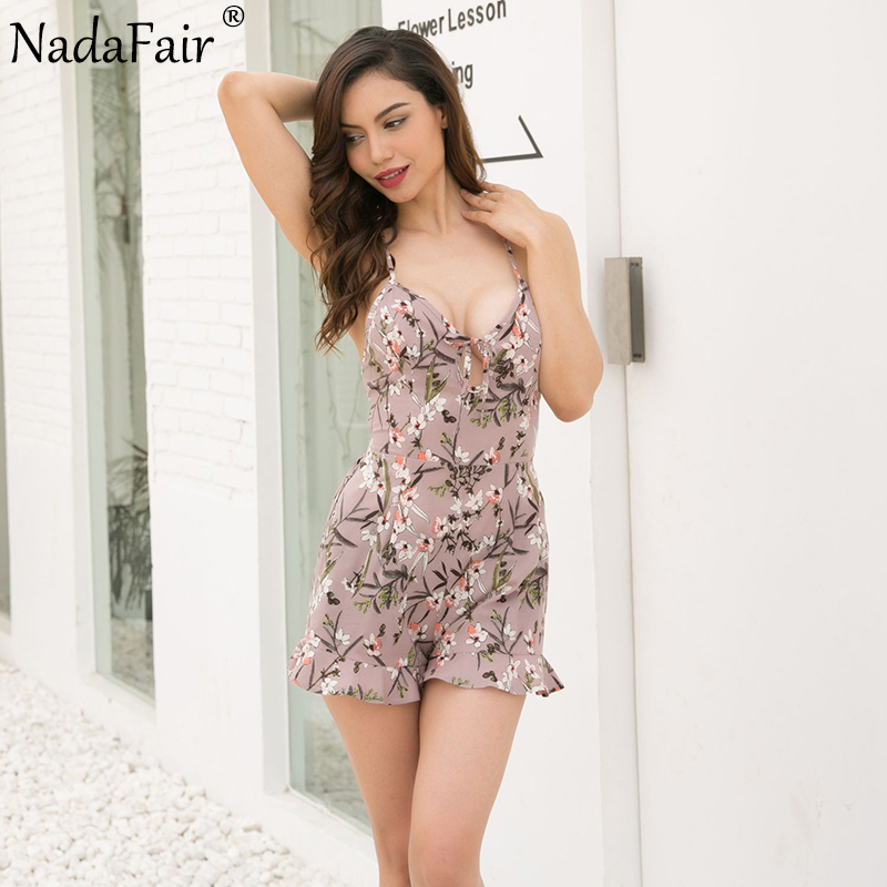e076eba5e72 Forefair Criss Cross Backless V Neck Summer Playsuits Floral Print Strap Sexy  Rompers Women Jumpsuits-in Rompers from Women s Clothing   Accessories on  ...