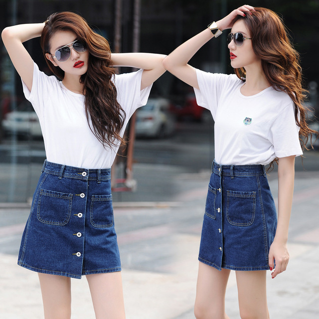 b15a4d05a Summer Denim Skirt Women Jeans A Line Short Shirts Sexy Lady Slim Pocket Button  High Waist Skirt Mini Jupe Femme S-XXL