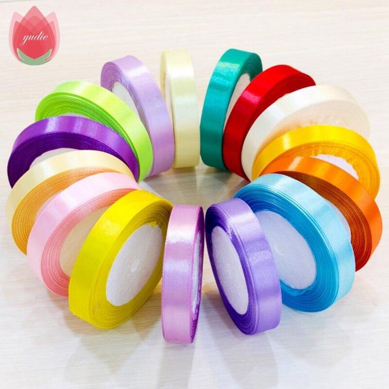 2017 Cotton Silk Satin Ribbon 15mm 25Yard Organza Polyester Ribbon For Wedding Party Christmas Decoration Webbing Gift Pack Belt