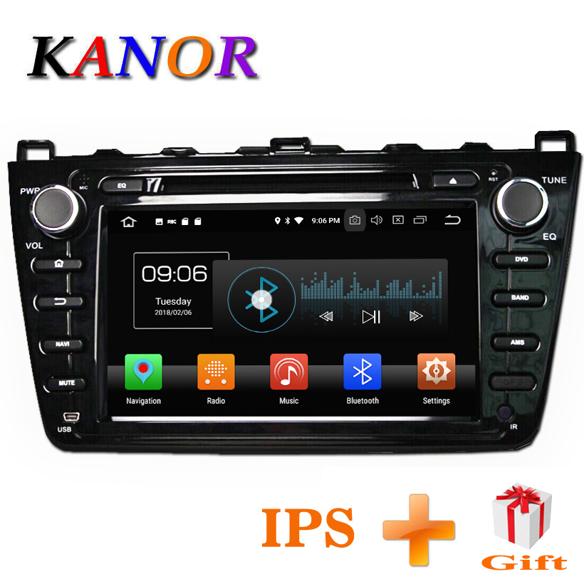 KANOR Android 8.0 4+32g 8 Core IPS 2din Car Radio For Mazda 6 Ruiyi 2008 2009 2010 2011 2012 WIFI GPS DVD Player Multimedia PC цена