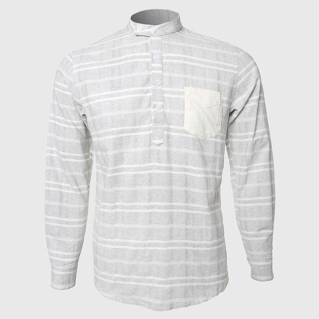 ea95e5818e Striped Men Shirts Plaid Check Mandarin Collar Design Long Sleeve Business  Leisure Party Button Closure Stun Chest Pockets