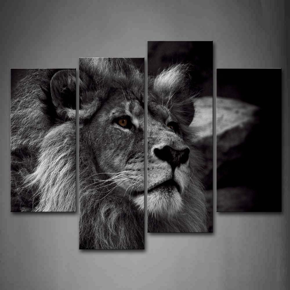 Lion head portrait wall art painting black and white gray for Black and white wall art