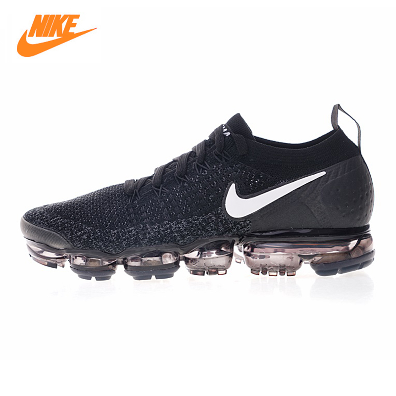 Nike AIR VAPORMAX FLYKNIT Men's Running Shoes, Black & White, Breathable Abrasion Resistant Shock Absorb 942842 001