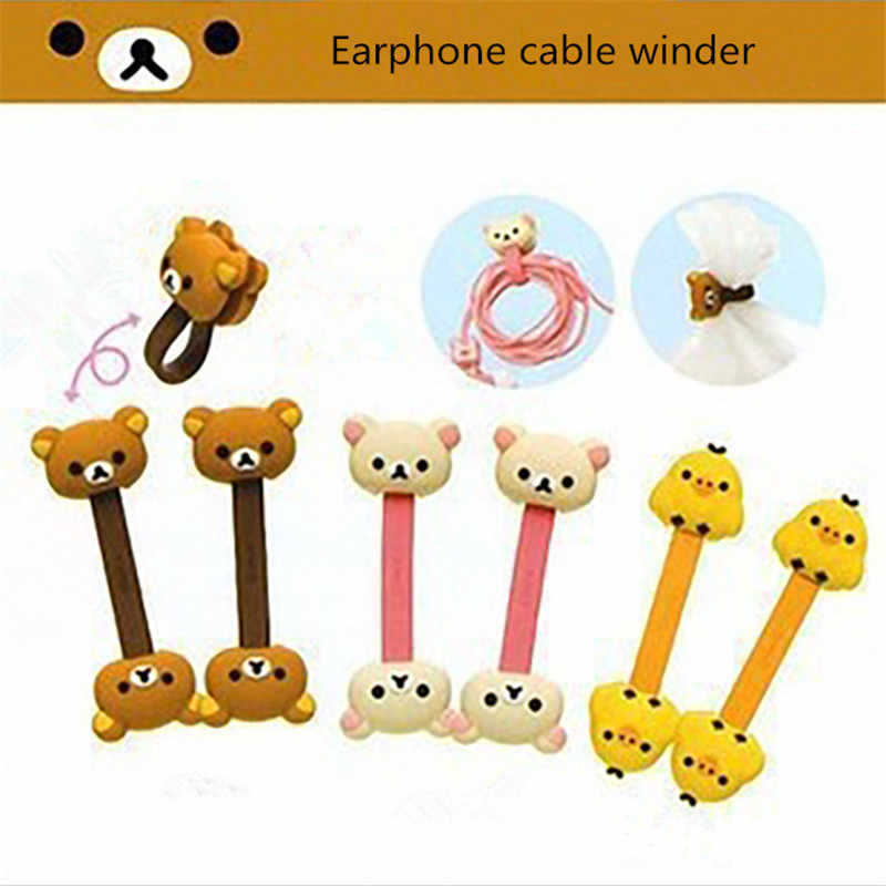 1 pair Korean Double-Headed Cartoon Animal Cable Winder Easily Bear Chick Headphone Desk Cable Manager