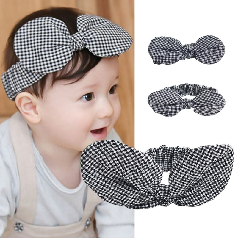 Baby Girls Plaid Big Bow-knot Hair Band Kids Baby Headwear Headband Toddler Girls Accessories