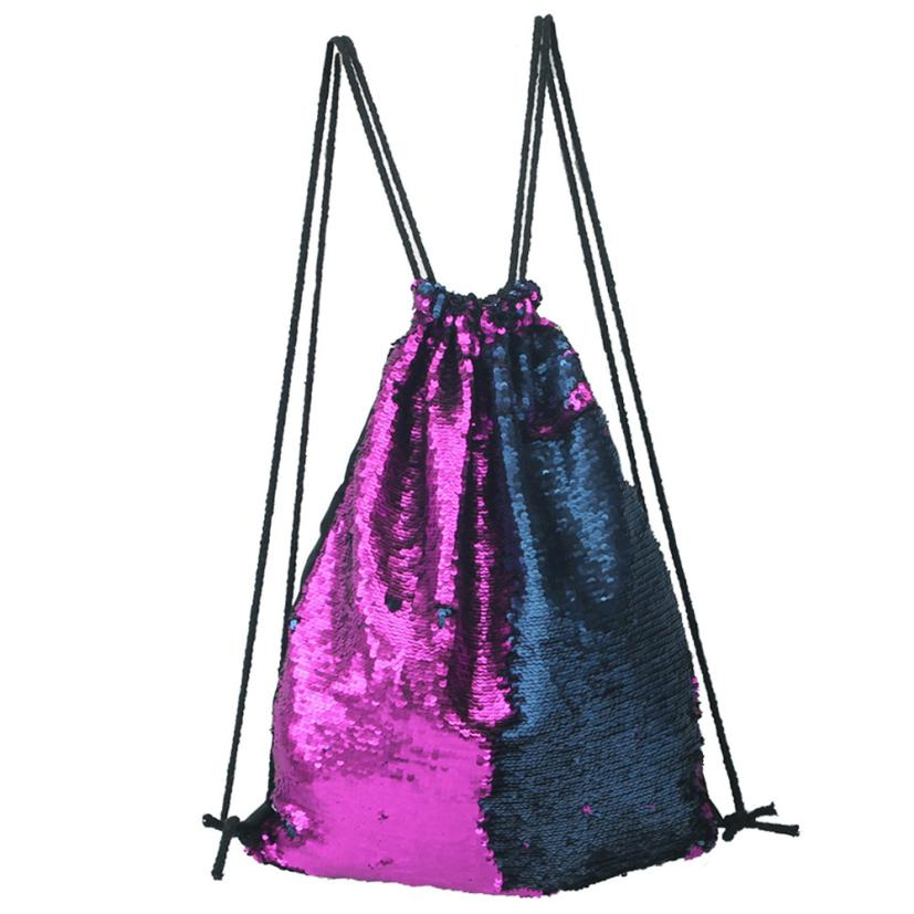 Fashion Backpack Women Silver Backpack Double Color Female Backpack Sequins Travel Backpack Drawstring Bag Sac A Dos Femme A7626