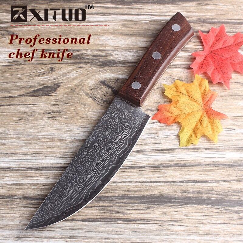 XITUO 6 pouces japonais cuisine couteaux Damas surface Chef Couteau manche en bois Japon Santoku en acier Cleaver Couteaux outil