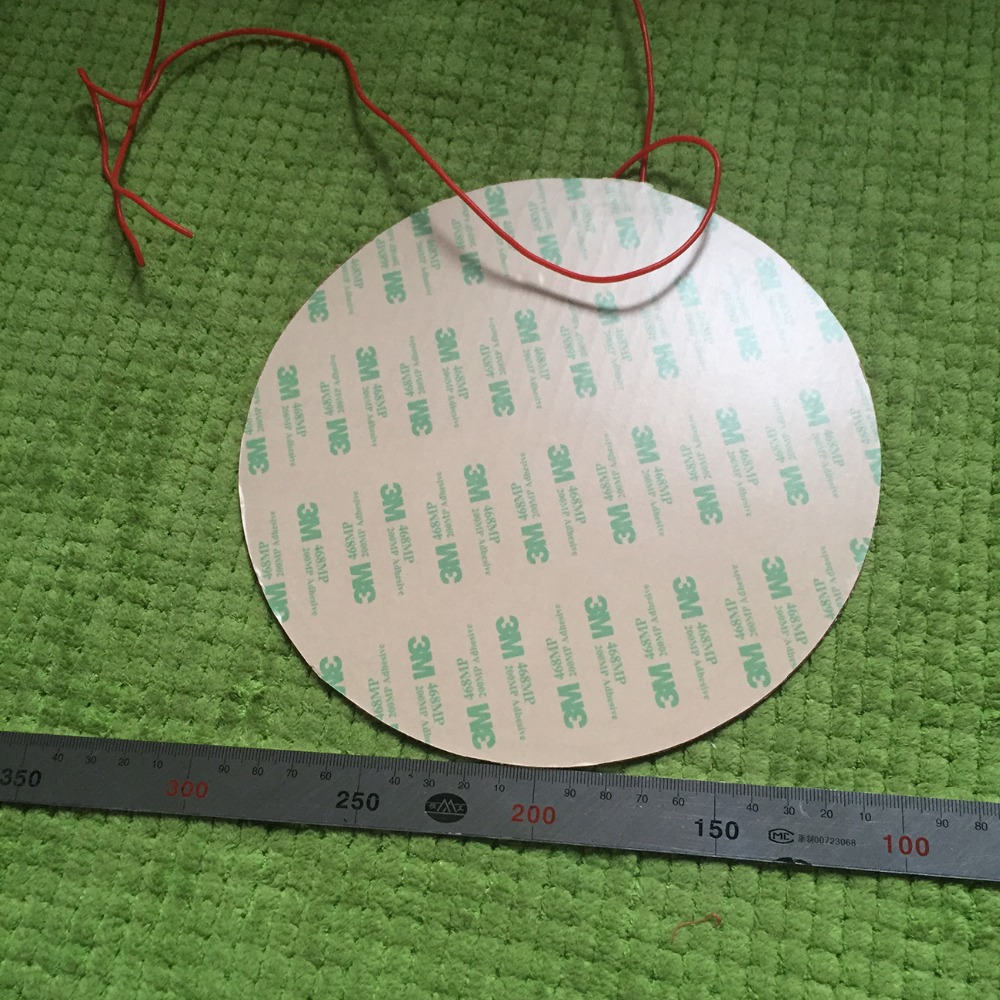 rotondo 250 mm 12 v 200 w silicone riscaldatore letto per kossel pro stampante 3d installare 3 m nastro silicone heating pad