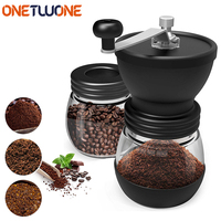 Manual Coffee Mill Grinder with Ceramic Burrs Two High quality Glass Jars Stainless Steel Handle Coffee Maker Kitchen Tools