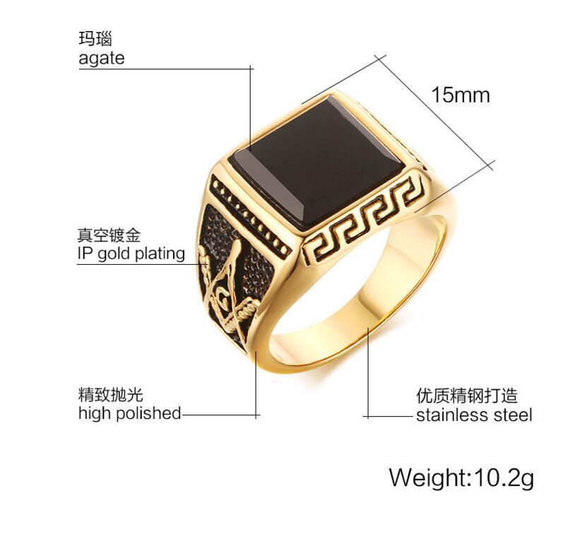 2016 New Arrival Titanium Freemasons Masonic Ring for Men and Women Hot Sale Black Men Ring Wholesale