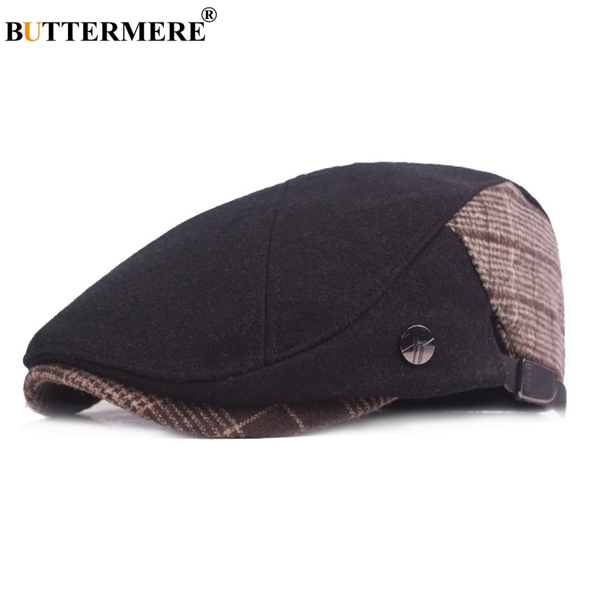 BUTTERMERE Flat Cap Berets Men Winter Patchwork Man Cabbie Directors For 2019 Retro Adjustable Wool Tweed And Hats