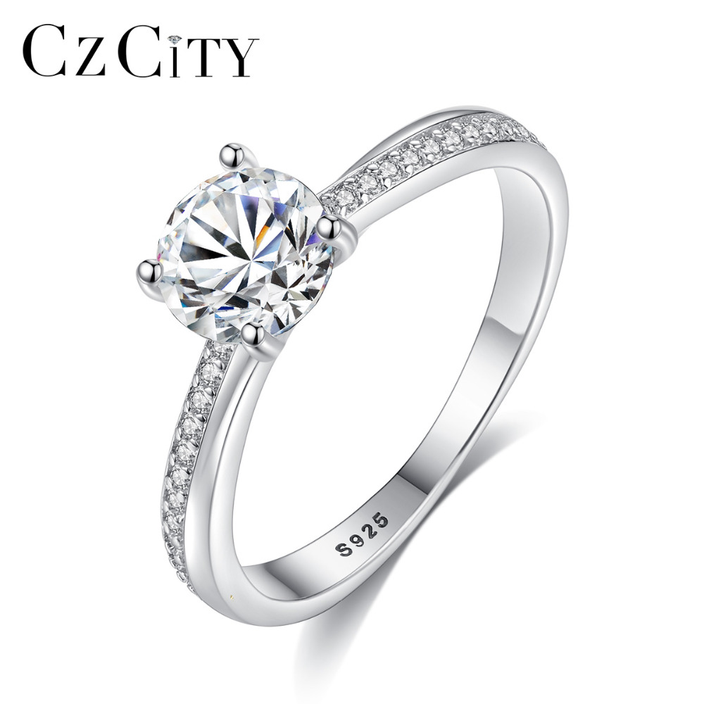 CZCITY Brand High Quality Pure 925 Sterling Silver Classic Wedding Rings For Women Clear CZ Stone Ring Fine Jewelry Femme Bijoux