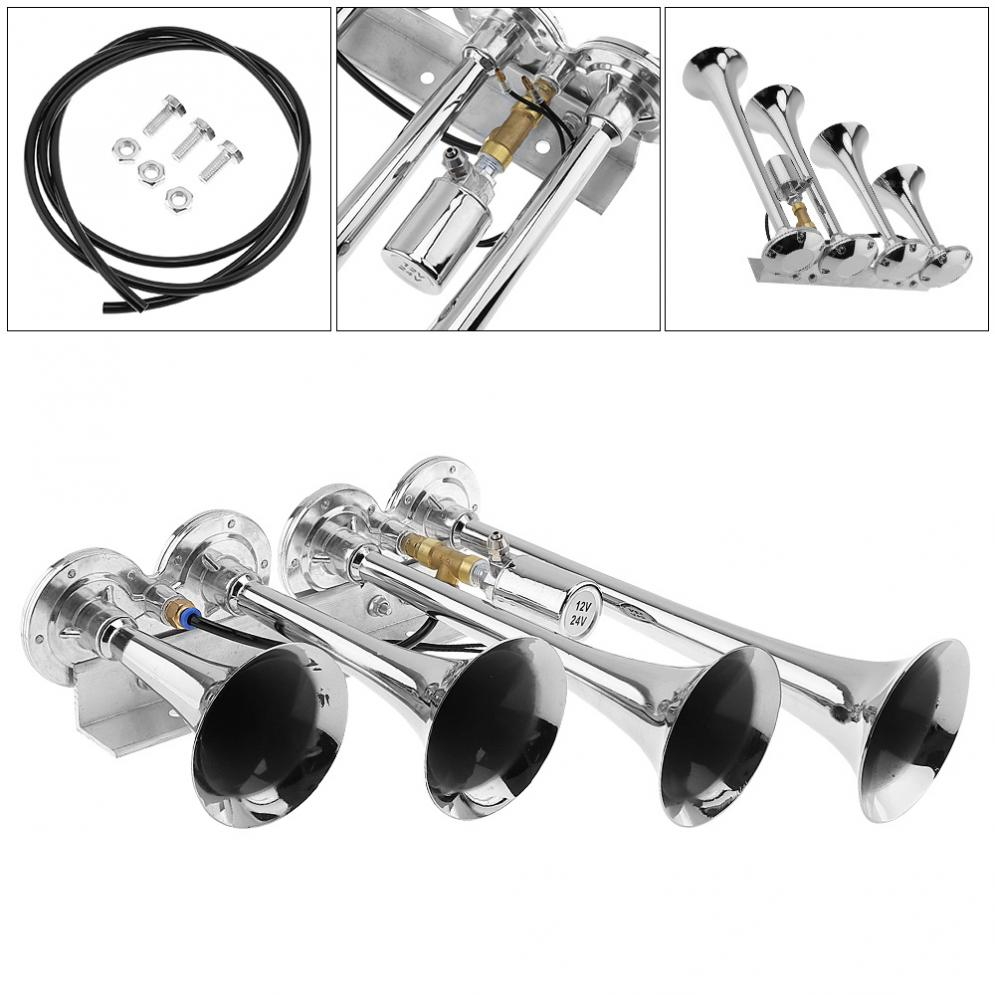 12V / 24V 185dB Super Loud Four Trumpet Air Horn  for Car Vehicle Truck Train Boat motorcycle