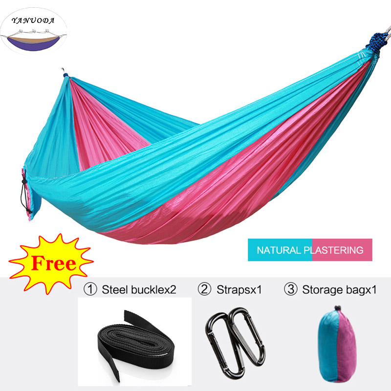 Single Double High Strength Outdoor Hammock Tree Portable Parachute Sleeping Swings Backpacking Hiking Woven Camping|outdoor hammock|parachute swingtree hammock - title=