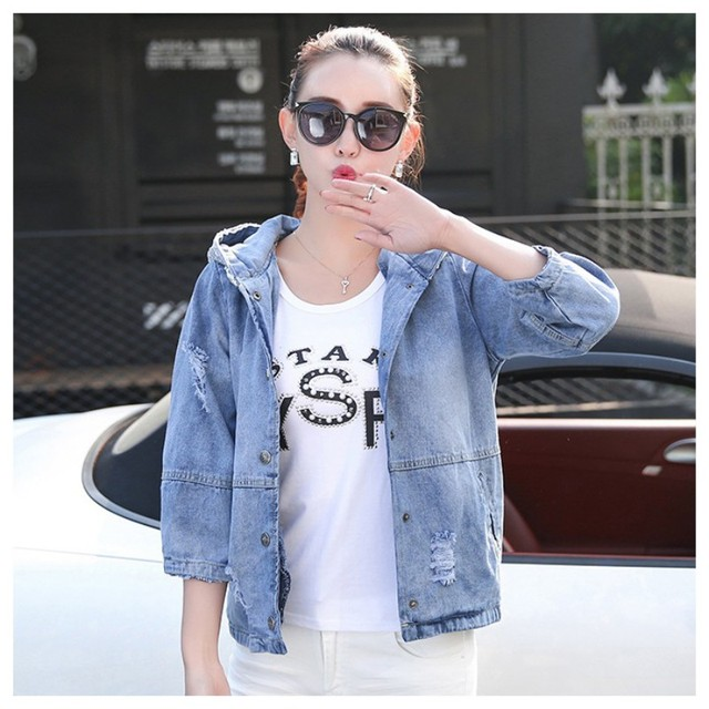 606dc10f7d6 Summer Autumn Women Denim Jackets Oversized Jeans Jacket Women Loose Sequin  Hooded Basic Jacket Coat Female Coat