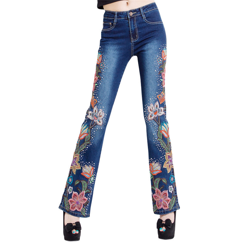 New woman jeans bell bottom embroidered hand bead