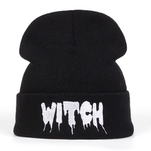 Hot New Black Acrylic Embroider Letter WITCH Beanies Hats For Women Men Unisex A