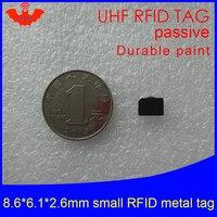 Etiqueta do anti-metal 915mhz 868mhz h3 estrangeiro da frequência ultraelevada rfid 8.6*6.1*2.6mm epc gen2 6c etiquetas muito pequenas duráveis do cartão esperto da pintura