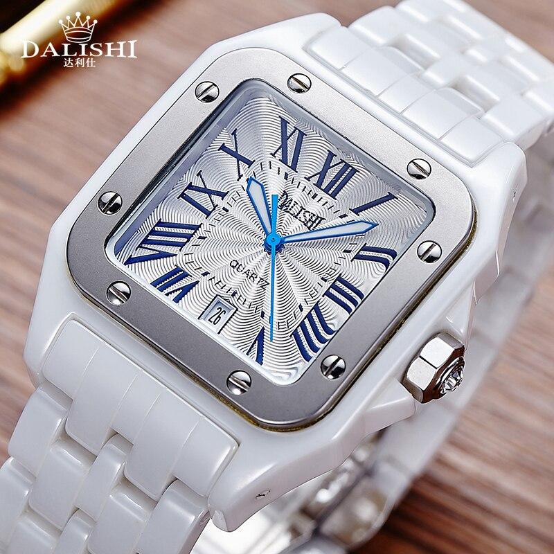 Dalishi Элитный бренд Для мужчин Керамика часы кварцевые люблю смотреть Мужской платье Часы модные римские циферблат Дата Для мужчин часы Relogio ...