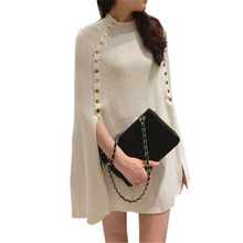 Новая мода зима осень пончо свитер женский двубортный брендовый вязаный свитер и пуловеры Pull Femme джемпер