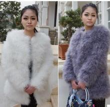 Factory Price font b Women b font long 70cm Ostrich Feather Fur coats Candy Color Real