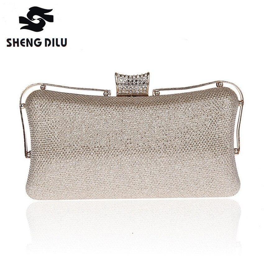 2017 Luxury Rhinestone Silver Gold Champagne Crystal Evening Clutches Women Chain Purse Handbag Wedding Party Shoulder Bag NL071