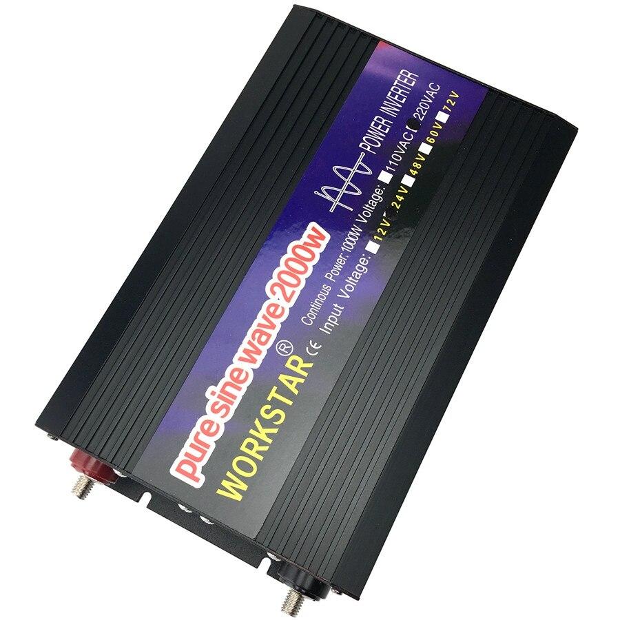 WORKSTAR пик 2000 W Чистая синусоида решетки DC/AC инвертор DC12V/24 V к AC220V 50 Гц/60 Гц Мощность инвертор для солнечной Системы
