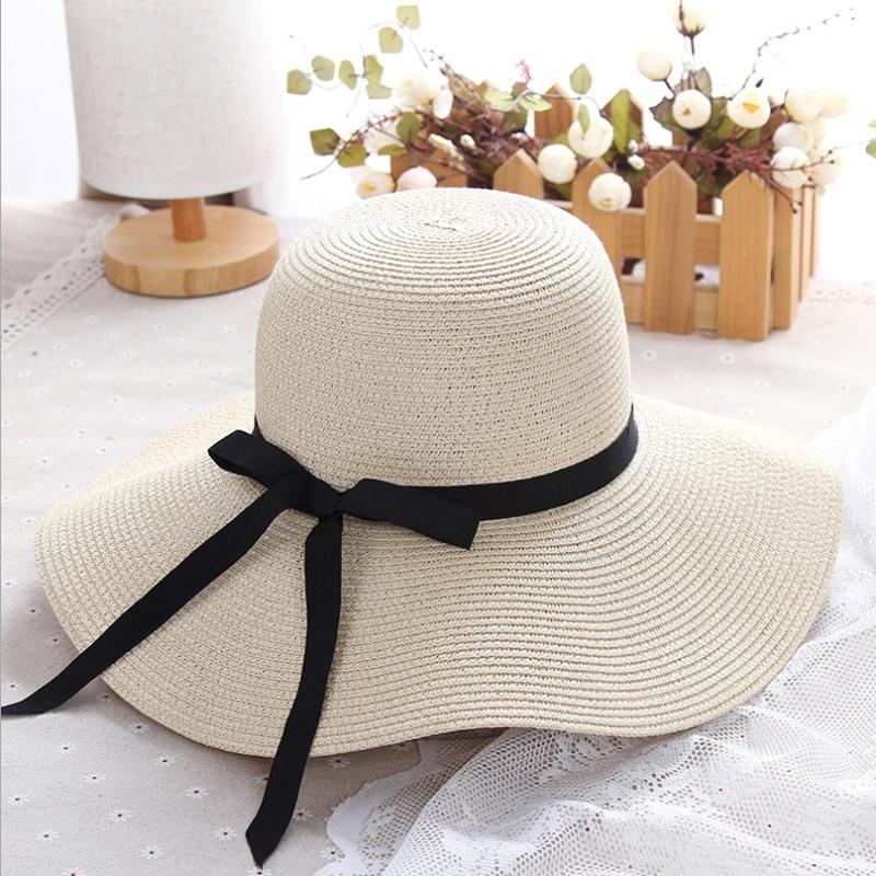 Summer Flower Beach Straw Hat Sun Hats for Women Round Top Wide Brim Straw Hat Flat Cap Outdoor Sunhat