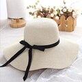 Простая Складная широкополая соломенная шляпа для девочек с широкими полями, Пляжная женская летняя шляпа с защитой от ультрафиолета, женс...
