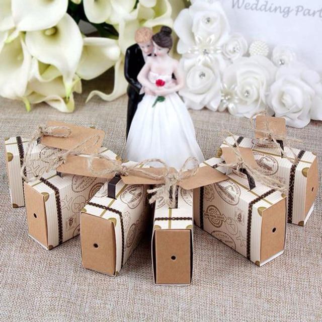 62b7cb405922bb Mini Walizka Kraft Pudełko Cukierków Pudełka Na Prezenty Ślubne Na Ślub  Boże Narodzenie Urodziny Zdarzeń Party