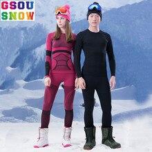 Narciarski GSOU SNOW Ski Marki Bielizna Kobiety Mężczyźni Kalesony garnitur Szybkie Pranie Narciarstwo Spodnie Kurtka Termiczna Oddychający Zimowym Na Zewnątrz płaszcz