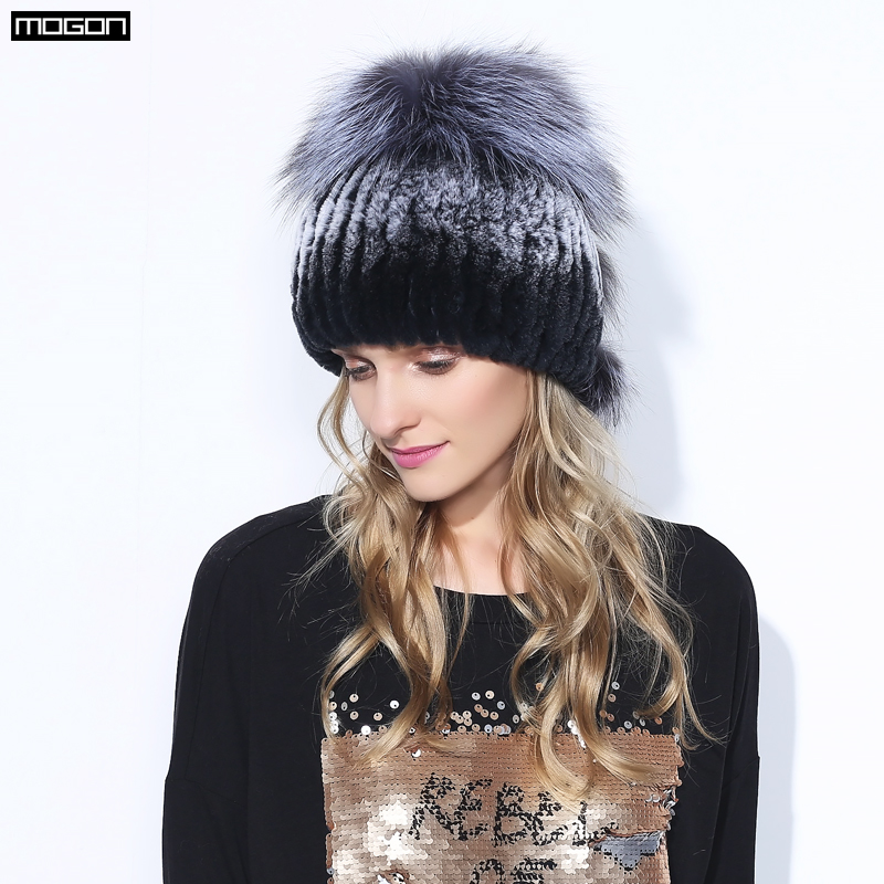 Women's Hats Winter Rex Rabbit Adult Fur Hat For Women With Fox Pom Poms Top Knitted Beanies Hats 2018 New Brand Causal Good Quality Caps