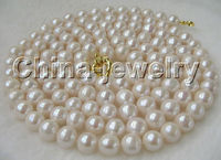 P2492 50 10 11mm natural white round freshwater pearl necklace GP clasp