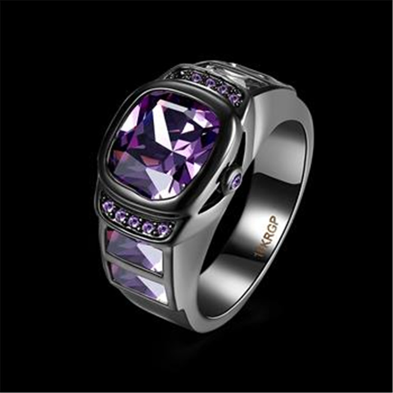 Wholesale Size 6/7/8 Black Gun Plated Round Blue Crystal Rings For Women And Men Stainless Steel Wedding Ring Vintage Jewelry