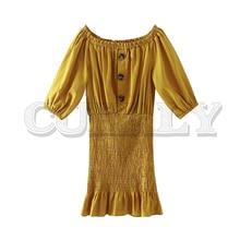 CUERLY women sweet solid mini dress sexy slash neck button elastic half length sleeve casual female A line dresses vestidos