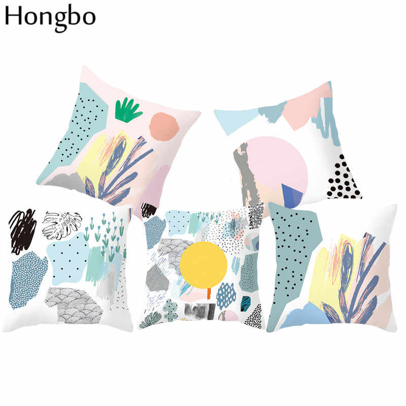 Hongbo Graffiti Background Pillow Covers Children Kids Room Decoration Nordic Style Geometric Marble Cushion Cover For Car
