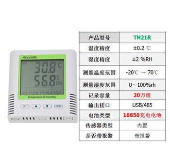 TH21R/TH21R-EX+Alarm Electronic Temperature Humidity Recorder Digital Thermometer Hygrometer Weather Station Alarm Clock Sensors